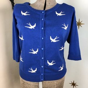 Sweaters - Blue white sparrow cardigan sweater rockabilly